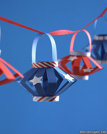 These DIY paper lanterns with stars and stripes are great for an outdoor barbecue.
