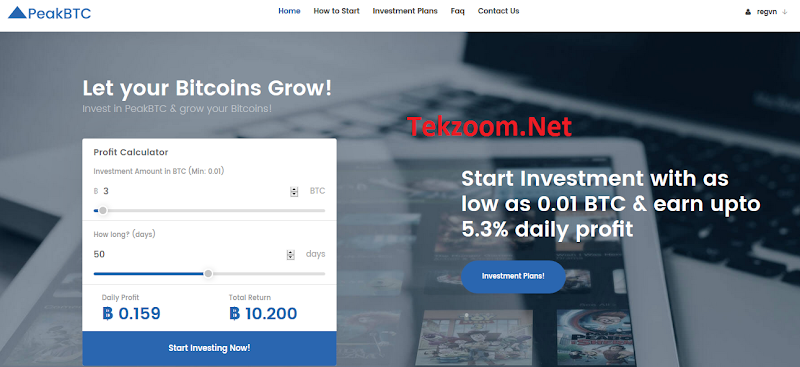 [SCAM] Review PeakBTC - Lãi 2.4% - 5.3% hằng ngày cho 100 ngày - Đầu tư tối thiểu 0.01 BTC - Thanh toán tức thì - Hoàn vốn đầu tư