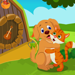 Games4King Cute Dog And Cat Embracing Escape