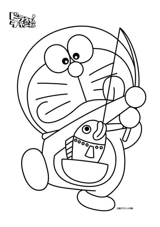 Tranh cho bé tô màu Doraemon và con cá