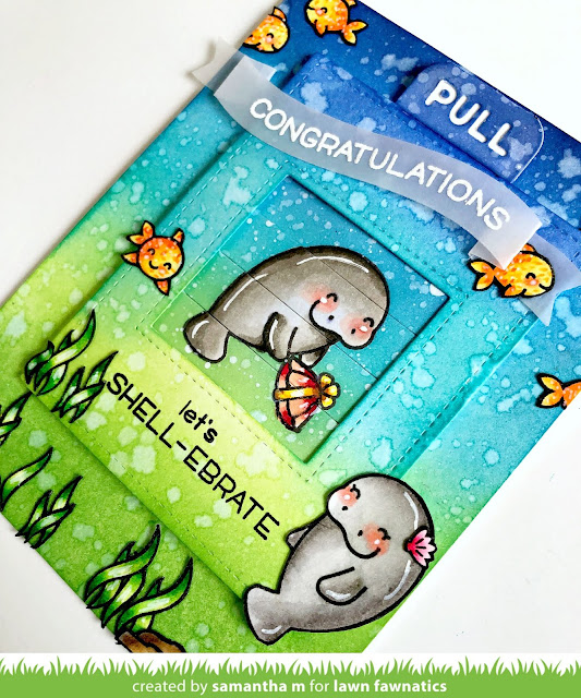 Let's Shell-ebrate Card by Samantha Mann for Lawn Fawnatics Challenge Blog, Lawn Fawn, Engagement Card, Distress Inks, Manatees, Ink Blending, Interactive, Magic Picture Changer, proposal, #lawnfawn #interactive #inkblending #distressinks #magicpicturechanger #handmadecards #cards