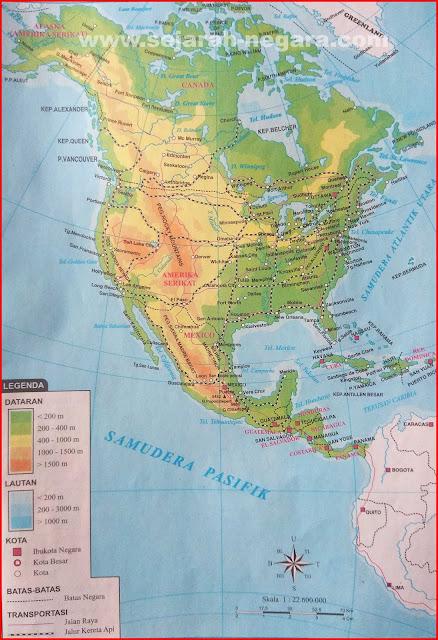 Gambar Peta Atlas Amerika Utara dan Amerika Tengah 2018