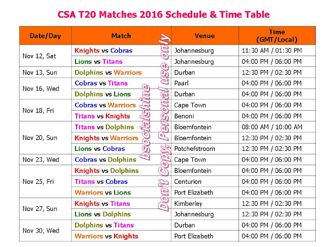 CSA T20 Matches 2016 Schedule & Time Table,CSA Cricket South Africa T20 2016 Fixture,Cricket South Africa T20 2016 full time table,CSA T20 challenge 2016 schedule,CSA T20 challenge 2016 team squad,CSA T20 challenge all player,match timing,t20 match schedule,all teams,local time,GST,IST,venue,place,Cape Cobras,Dolphins,Knights,Highveld Lions,Titans,Warriors,t20 leguage 2016,cricket calendar 2016,icc,south africa cricket,ipl,t20 match,cricket schedule,live score
