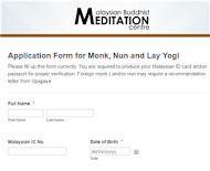 ♦ Meditation Retreat Application Form ♦