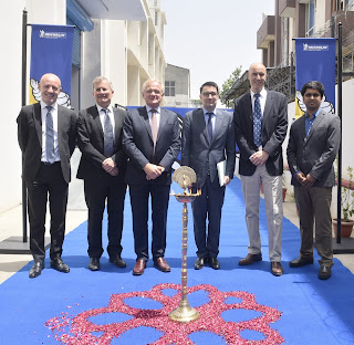 Serge Godefroid, Managing Director, Michelin India Technology Center, H.E. Mr Alexandre Ziegler, Ambassador of France to India and Philippe Verneuil,   inaugurate Michelin R&D ce