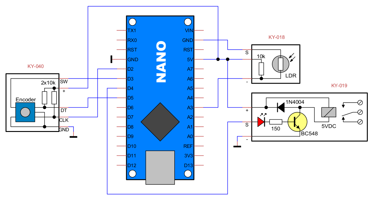 Light or dark activated switch using Arduino · One Transistor