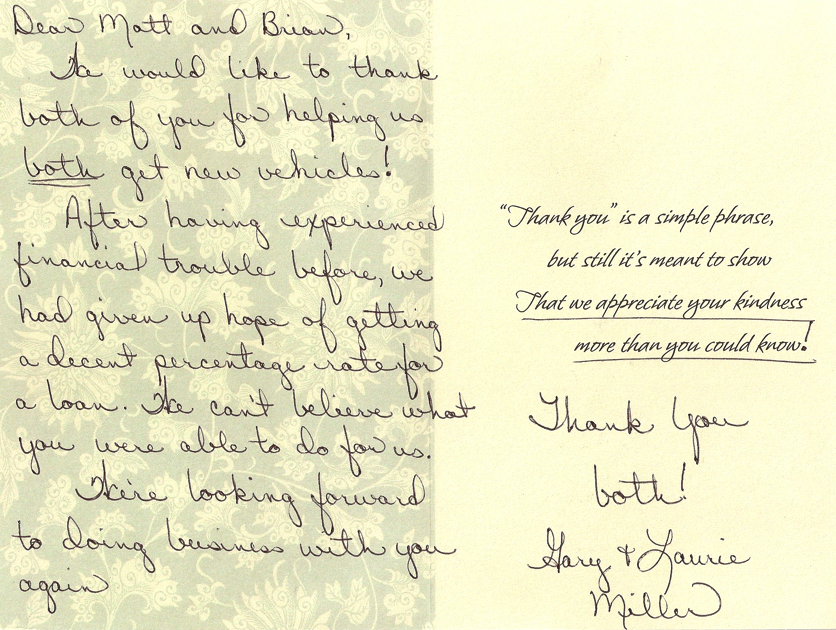 Thank You Letter: From BOTH of Us - Van Horn Automotive Group