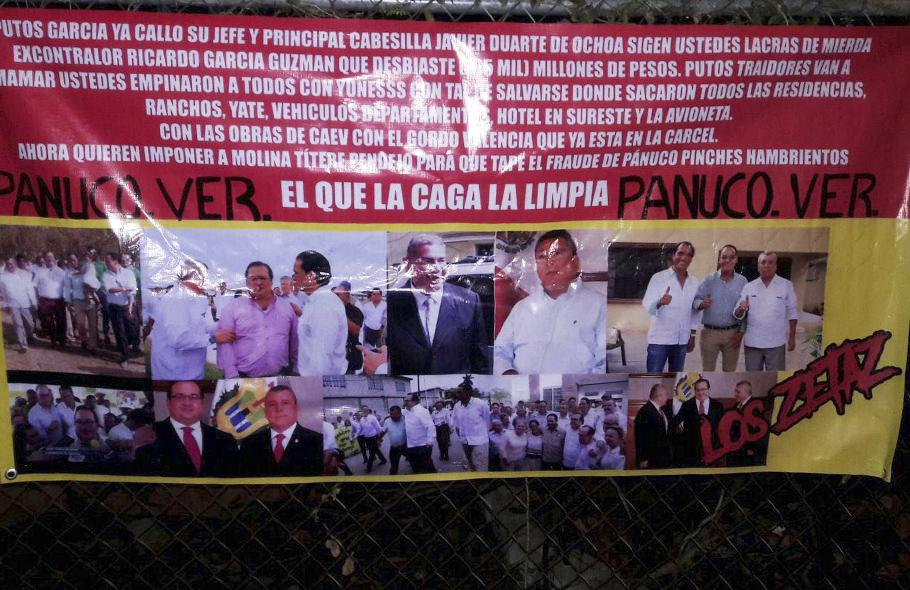 """""""EL QUE LA CAGA LA LIMPIA"""" Aparecen narcomantas de 'Los Zetaz' advierten y amenazan a los García Guzmán"""