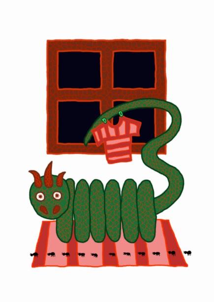 Digitális rajz zöld pikkelyes, csillagszemű, radiátor formájú sárkányról, farkán ruha szárad kiteregetve, előtte hosszú sorban hangyák menetelnek.