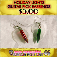 CUSTOM Color Holiday Lights Guitar Pick Earrings (Pick Your Colors!) $5.00
