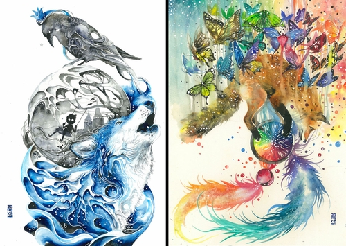 00-Luqman Reza jongkie-Painting-Fantasy-worlds-with-Flowing-Watercolor-Animals-www-designstack-co