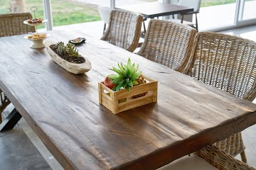 Rectangular Brown Wooden Dining Table and Chairs Set