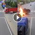 WATCH: Motorsiklo, nagliyab matapos sumalpok sa truck