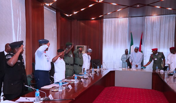 President Buhari meets Service Chiefs over Metele attack by terrorists