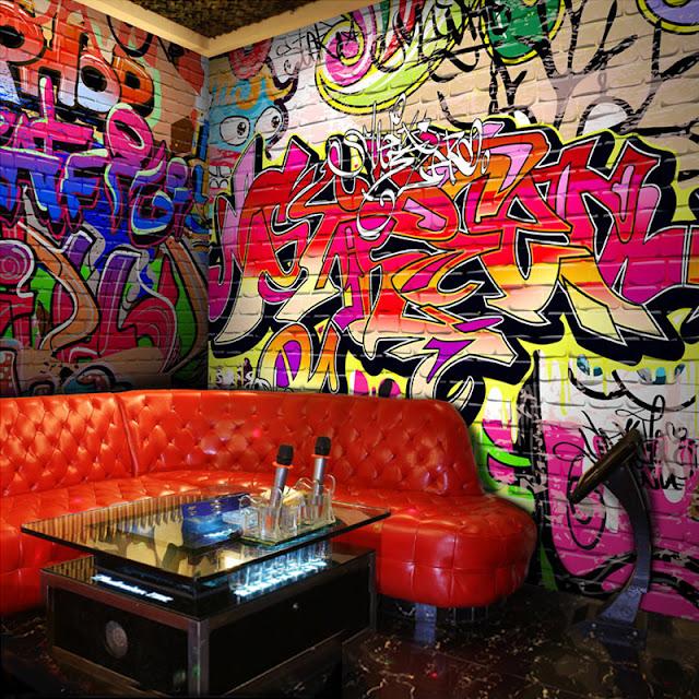 tapet graffiti fototapet ungdomstapet tjejrum killrum ungdomsrum