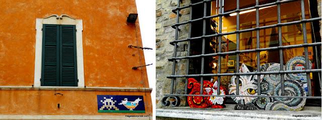 Mosaicos nas ruas de Ravena, Itália