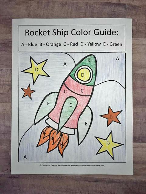 Rocket Ship Seek and Find Color Sheet