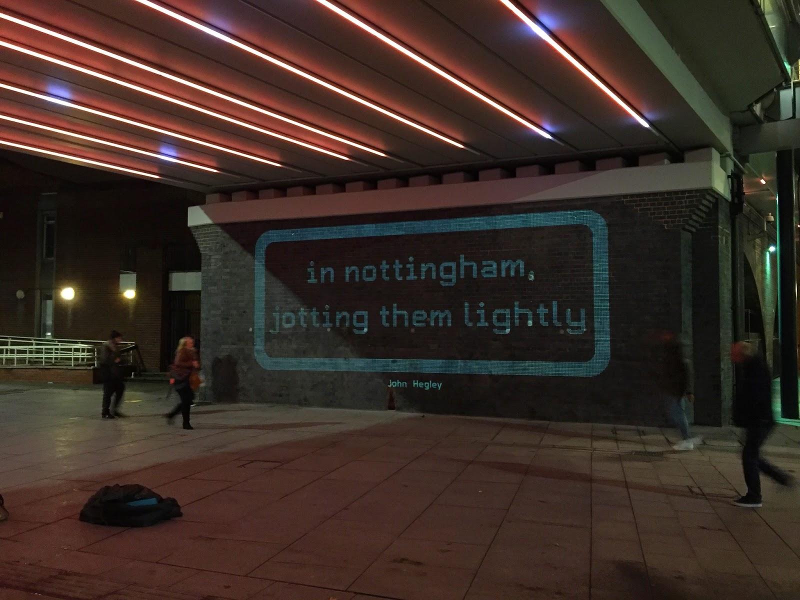 Line of Light: 'In Nottingham, jotting them lightly' - John Hegley.