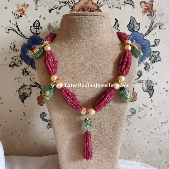 Ruby Beads Chain with Tassel Drops