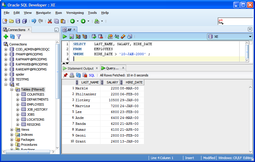 examples: Date in Where Clause Oracle Tutorial Example