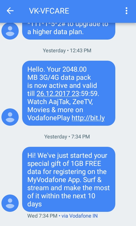 Get 1GB Free Data for Downloading My Vodafone App