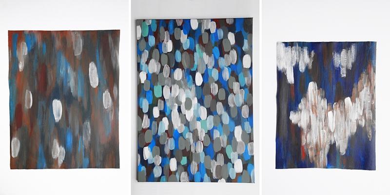 Abstrakte Malerei auf Leinwand in blau, weiß, bunt | Tasteboykott