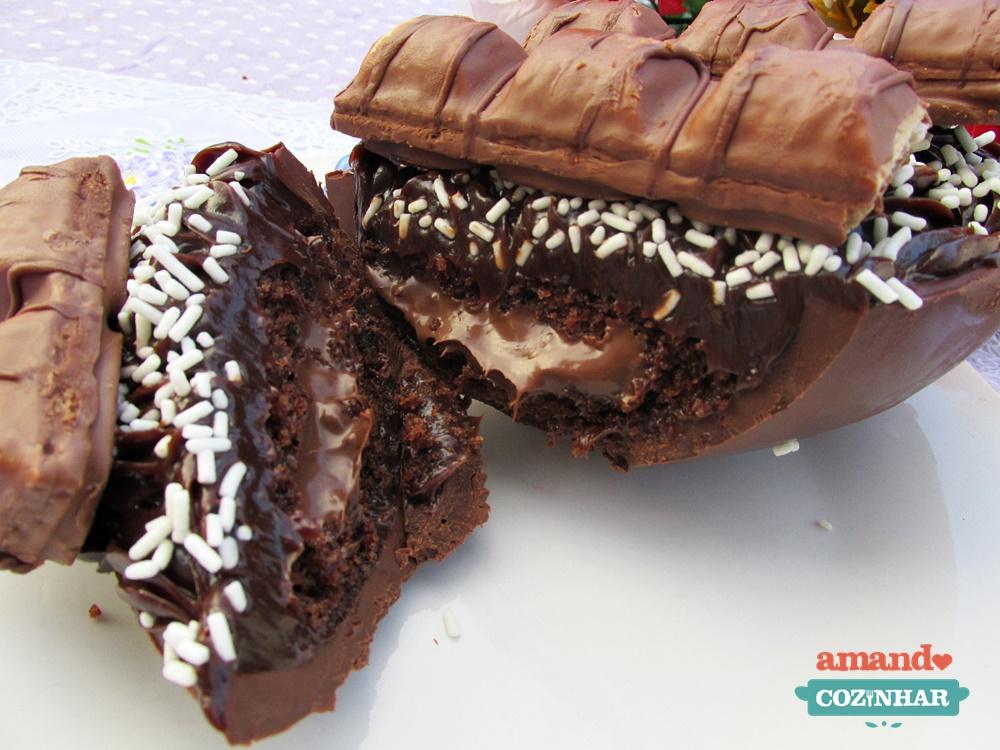 Top Ovo de Páscoa recheado com bolo de chocolate e nutella - Amando  QR38