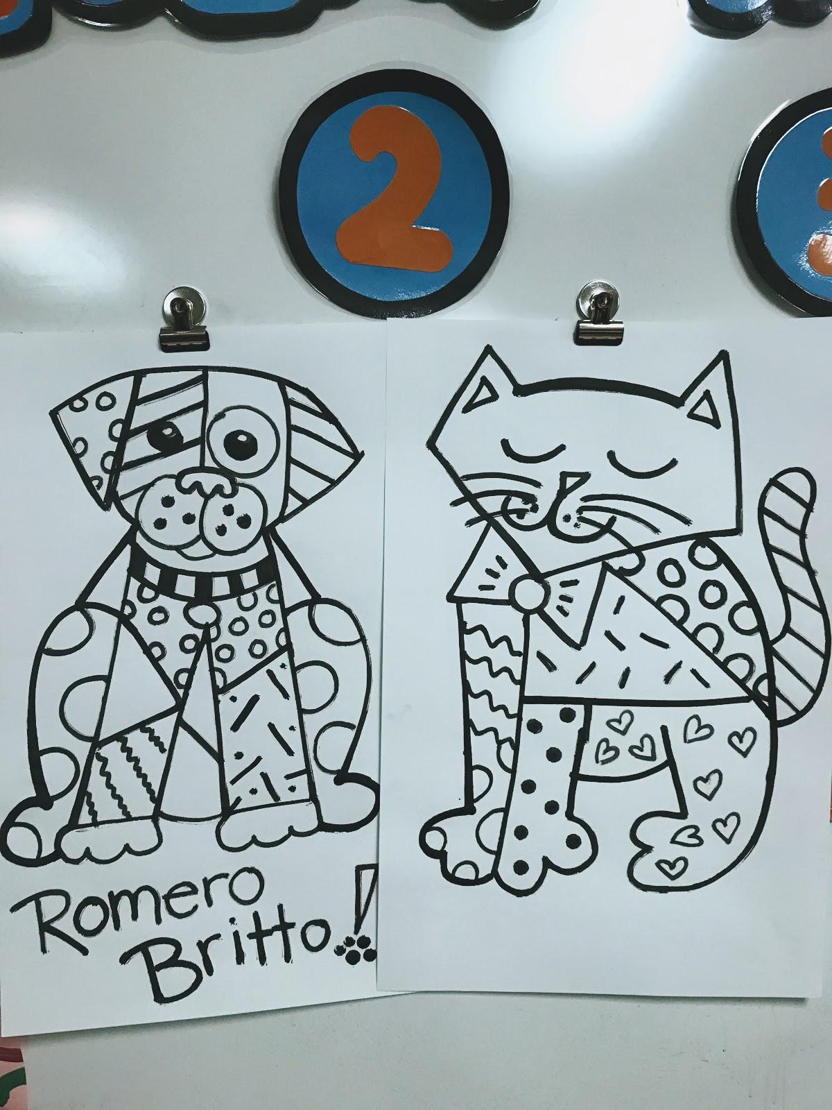 Elements of the Art Room: 2nd grade Romero Britto Animals!