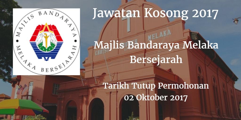 Jawatan Kosong MBMB 02 Oktober 2017