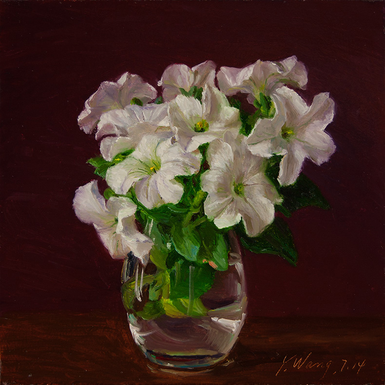 Wang Fine Art White Flower in a Vase Still Life Painting Original