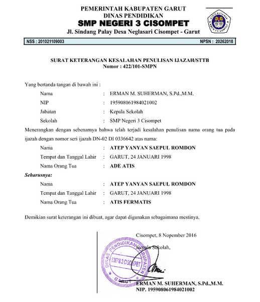 Contoh Surat Keterangan Kesalahan Penulisan Ijazah Contoh Surat Keterangan Kesalahan Penulisan Ijazah/ STTB