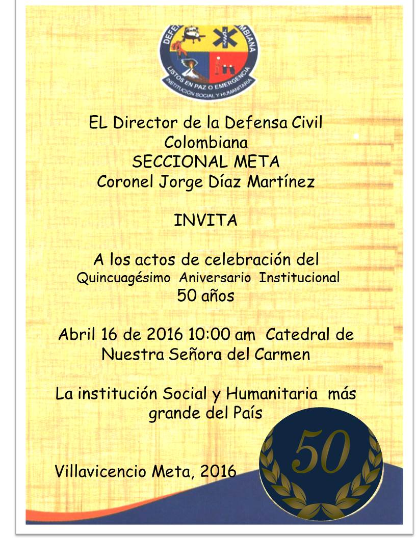 Defensa Civil Colombiana Invitacion Aniversario 50 Años