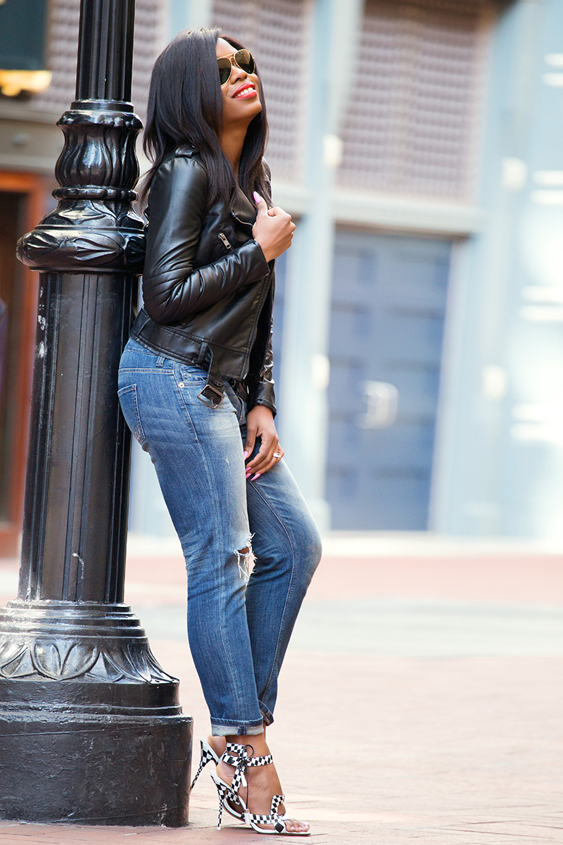 biker chic, leather jacket, casual weekend look, sophia webster, www.jadore-fashion.com