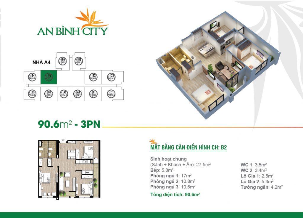 Căn hộ thiết kế diện tích 90 m2 tại chung cư An Bình City