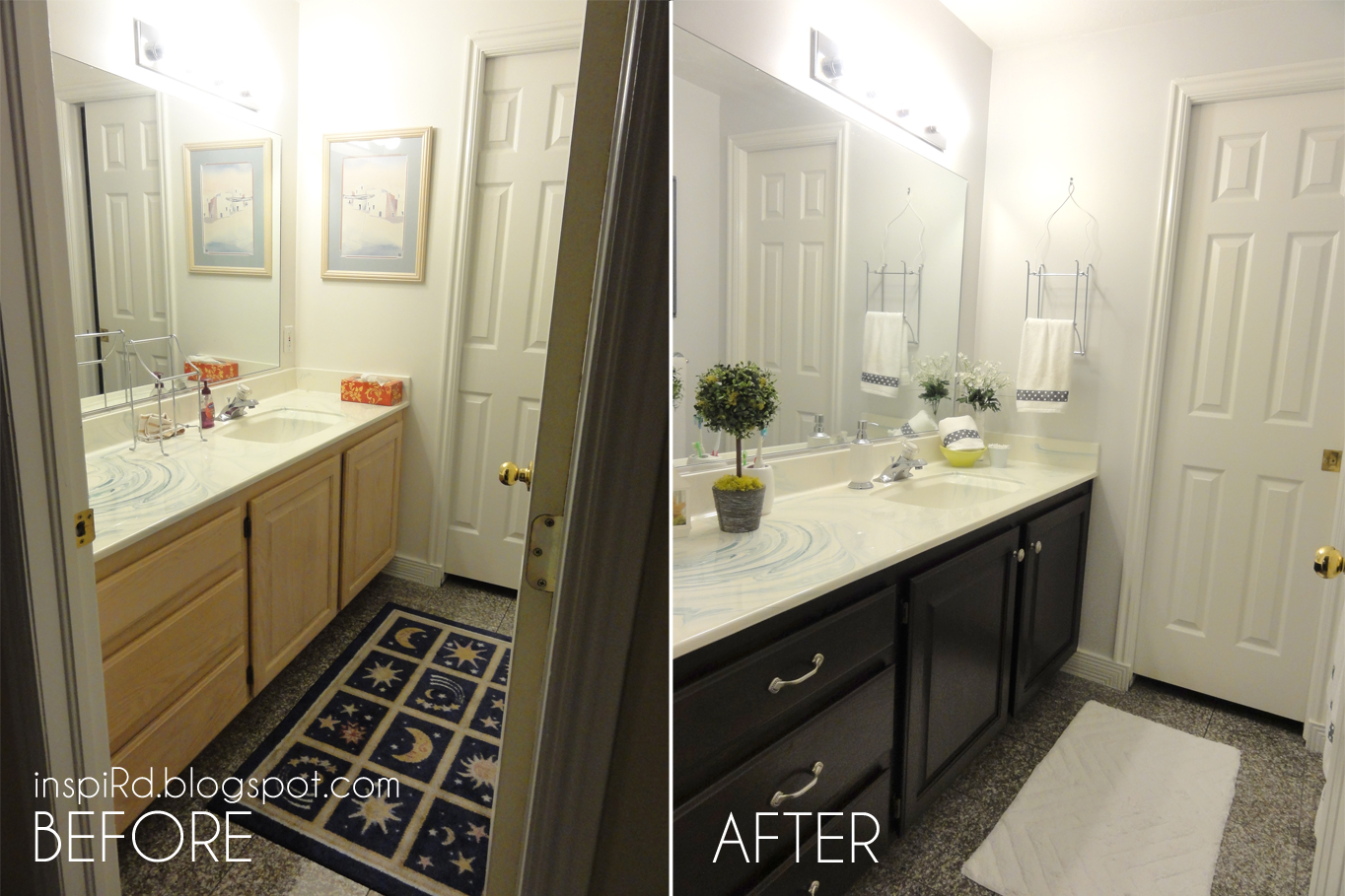 inspiRd: Staining Bathroom Cabinets - My First DIY Project!