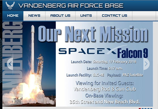 Webpage showing wrong date for Falcon 9 launch, but some viewing locations (Source: www.vandenberg.af.mil)