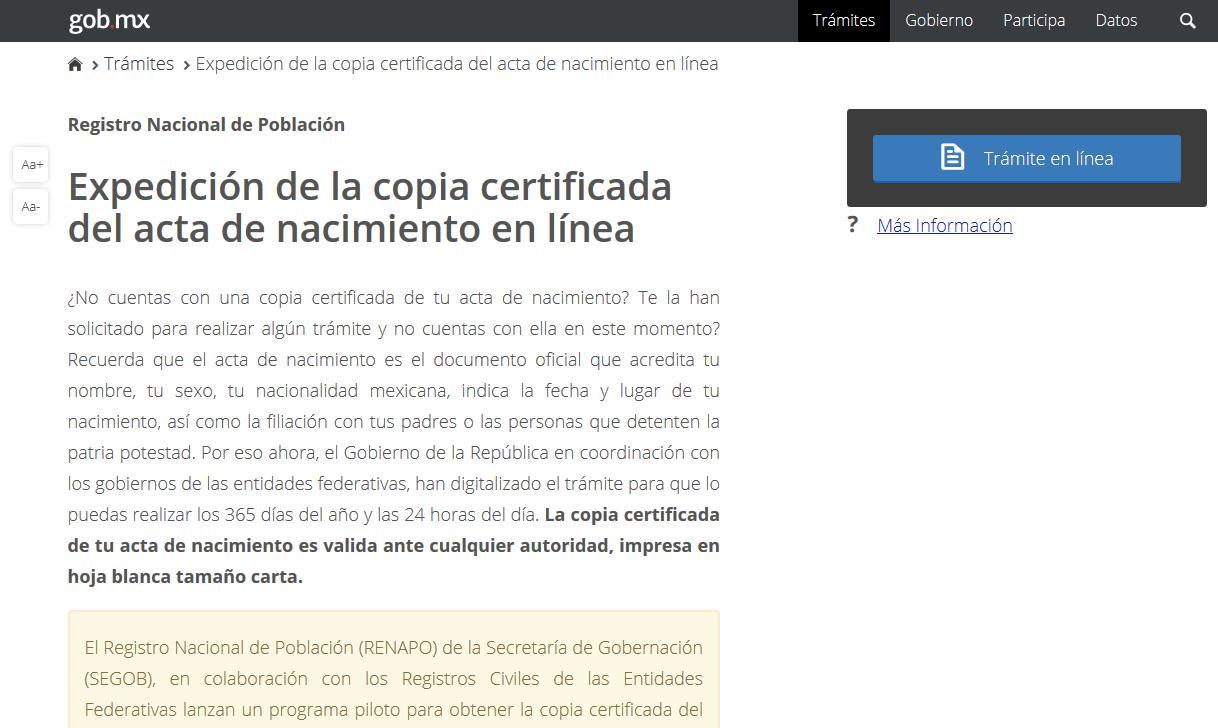 Chiapas cuenta con expedición de la copia certificada del acta de ...