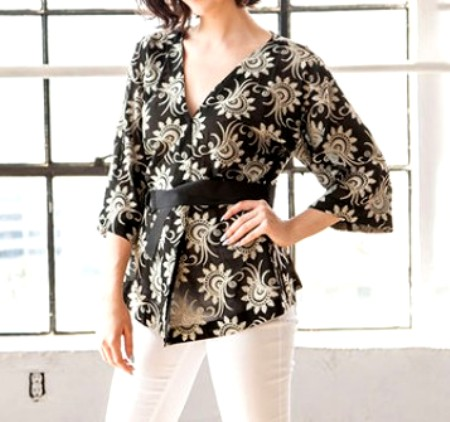 Black 3/4 Sleeve Embroidered Floral Kimono from Nabisplace - Price: $89.00