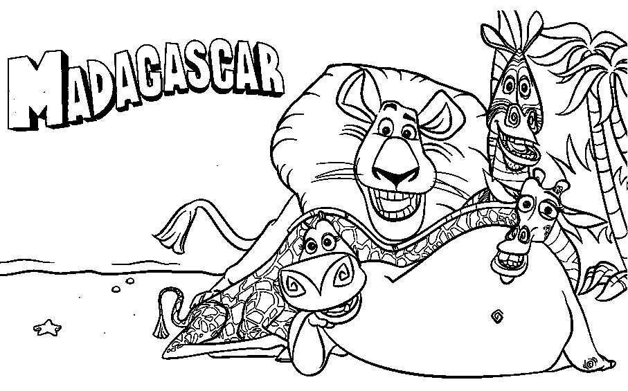 Madagascar coloring pages for kids ~ Cartoon Images For Colouring: Madagascar Coloring Book For ...