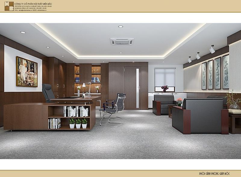 Thiết kế nội thất phòng giám đốc sang trọng, tiện nghi