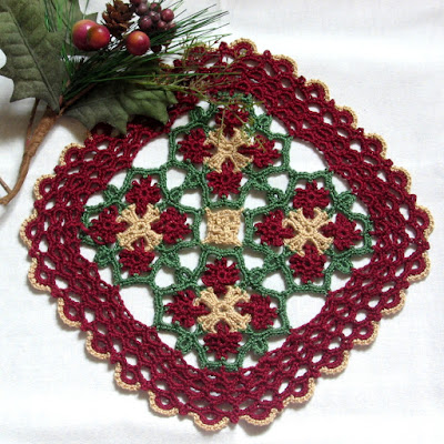 Red and Green Celtic Woven Crochet Square - Hand-Crocheted By RSS Designs In Fiber - Sold - Email for Custom Order Request