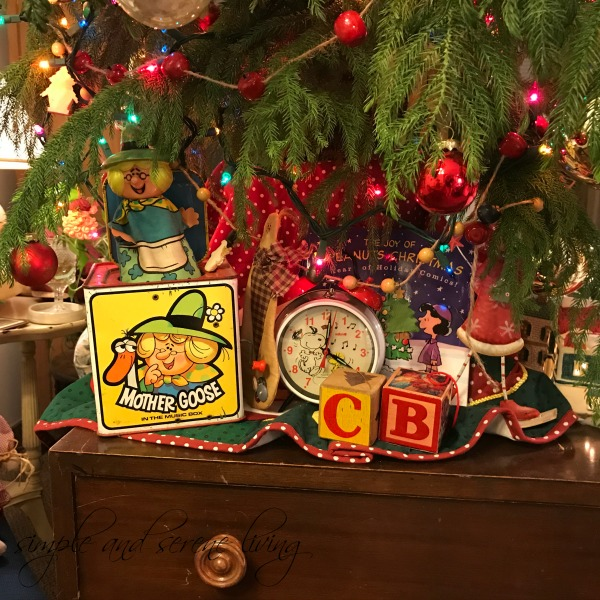 vintage Christmas toys under the tree