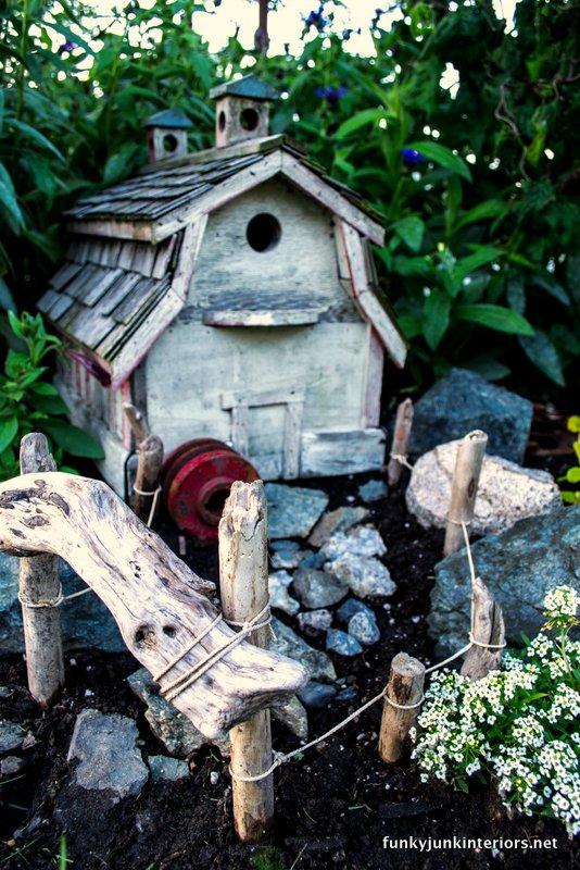 outdoor fairy garden farm style via Funky Junk Interiors