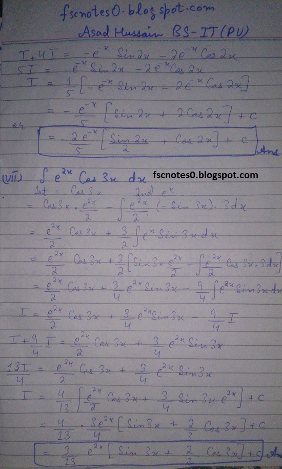 FSc ICS Notes Math Part 2 Chapter 3 Integration Exercise 3.4 Question 2 & 3 by Asad Hussain 4
