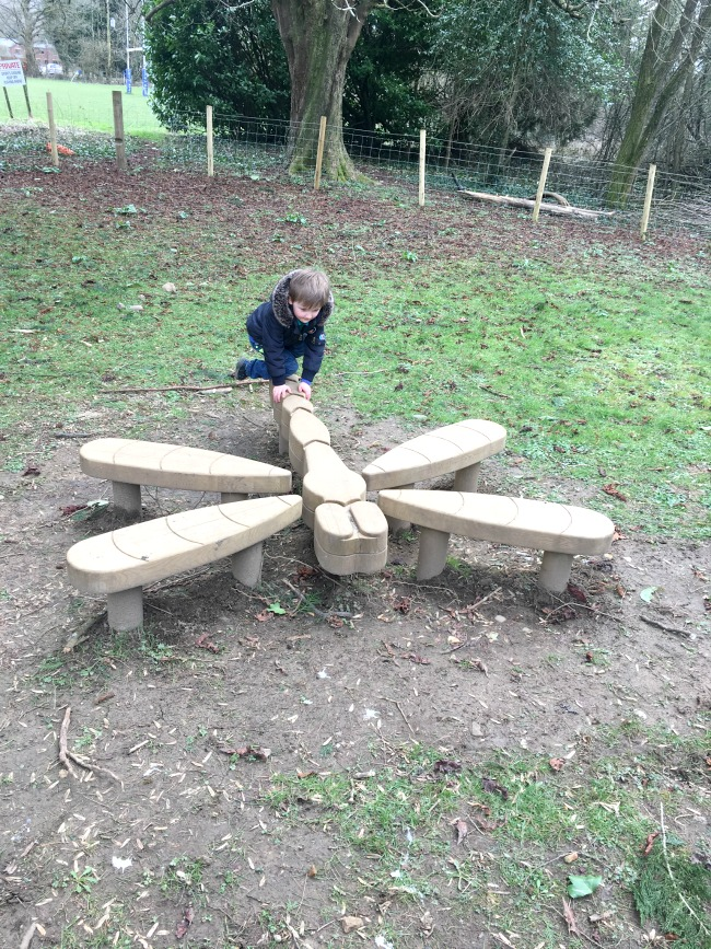 boy-climbing-onto-wooden-dragonfly-sculpture