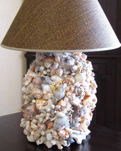 shell covered lamp