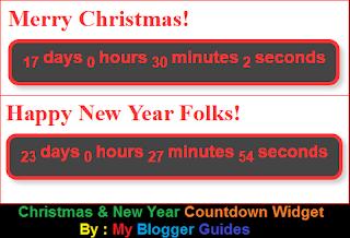 Countdown Widget, Happy New Year, Merry Christmas
