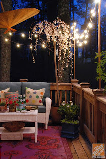 terrace, garden, small balcony, lights, lighting, outdoor space, decoration ideas, summer, economical solutions, light bulbs, lanterns, lantern, waterproof lights, led, sunlight, sun umbrella,