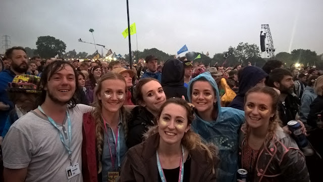 Group photo in the crowd at Glastonbury