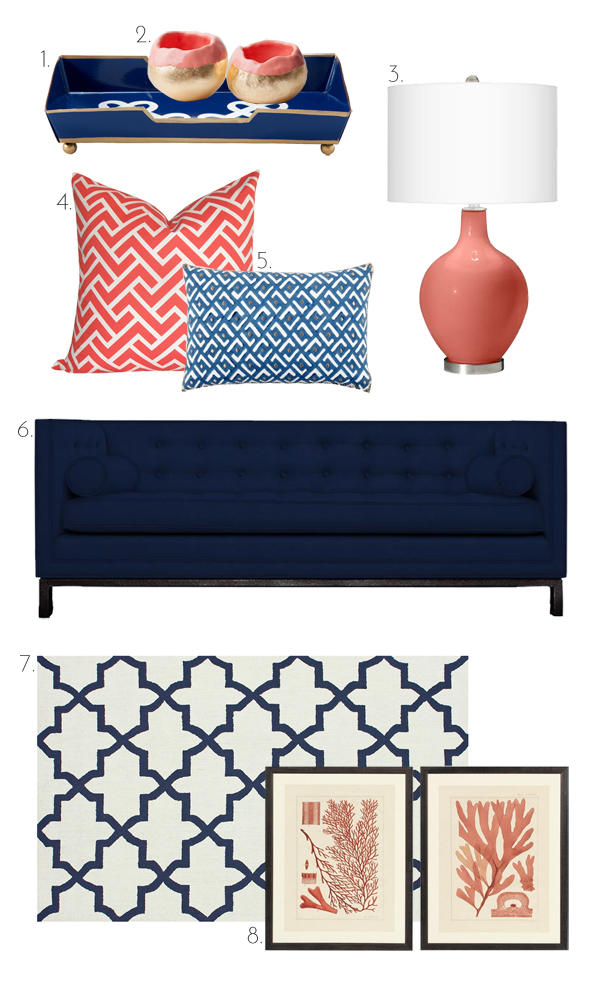 The Pink Doormat: Coral And Navy